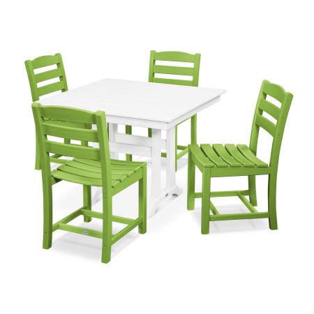 La Casa Café 5-Piece Farmhouse Trestle Side Chair Dining Set in Lime / White