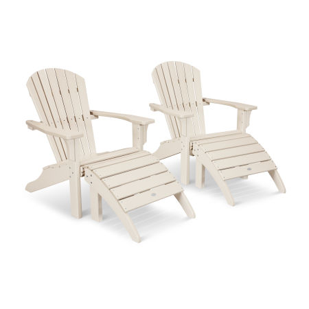 Seashell Adirondack Set with Ottomans in Sand