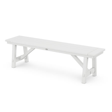 "Rustic Farmhouse 60"" Backless Bench in White"