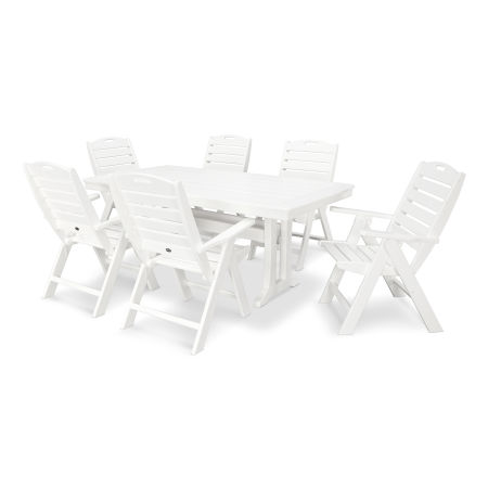 7 Piece Nautical Dining Set in White