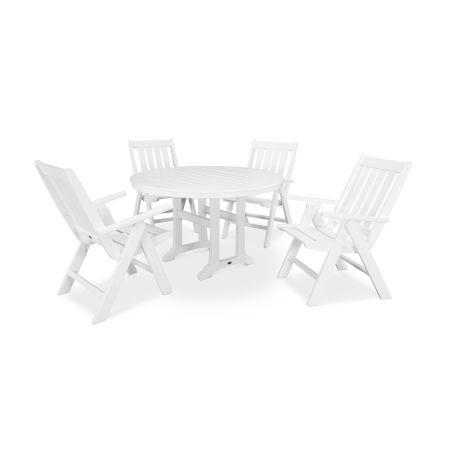 Vineyard 5-Piece Nautical Trestle Folding Dining Set in Vintage White