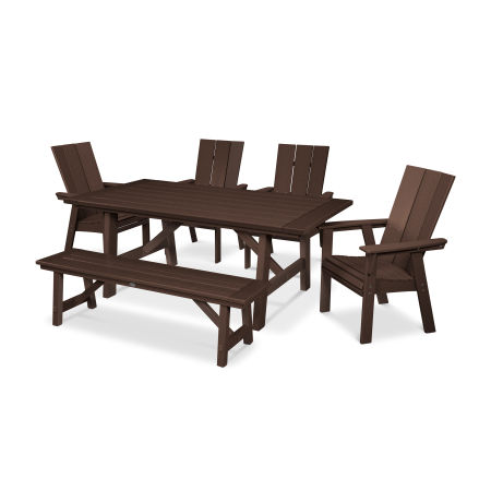 Modern Adirondack 6-Piece Rustic Farmhouse Dining Set with Bench in Mahogany