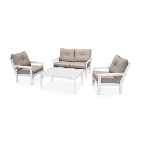 Vineyard 4-Piece Deep Seating Set in White / Cast Ash