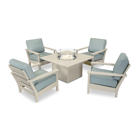 Harbour 5-Piece Conversation Set with Fire Pit Table in Sand / Spa