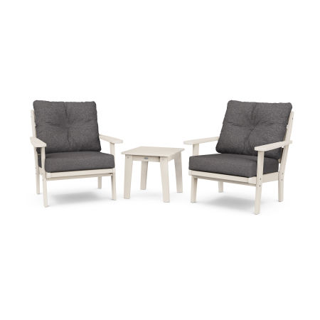 Lakeside 3-Piece Deep Seating Chair Set in Sand / Ash Charcoal