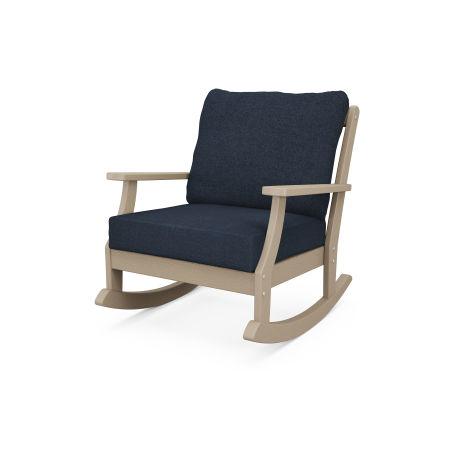 Braxton Deep Seating Rocking Chair in Vintage Sahara / Marine Indigo