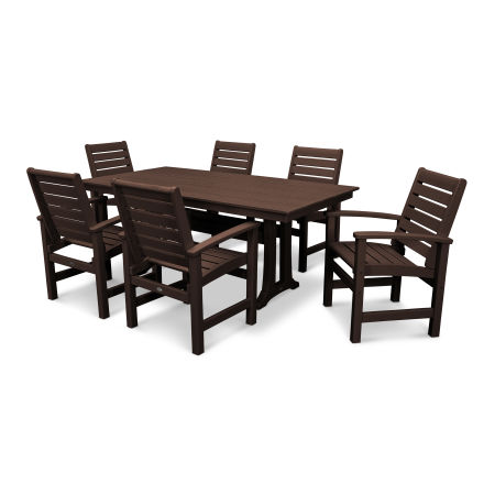 Signature 7 Piece Farmhouse Dining Set in Mahogany