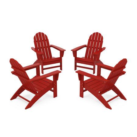 Vineyard 4-Piece Adirondack Conversation Set in Crimson Red