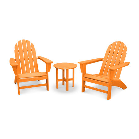 Vineyard 3-Piece Adirondack Set in Vintage Tangerine