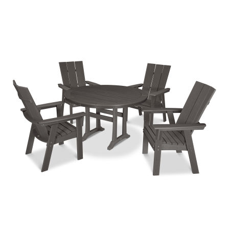 Modern Adirondack 5-Piece Nautical Trestle Dining Set in Vintage Finish