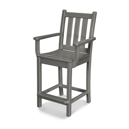 Traditional Garden Counter Arm Chair in Slate Grey