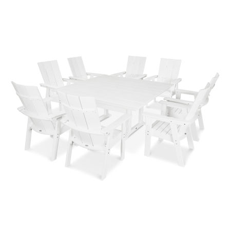 Modern Adirondack 9-Piece Farmhouse Dining Set in White