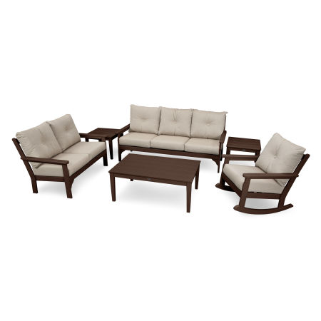 Vineyard 6-Piece Deep Seating Set in Mahogany / Cast Ash