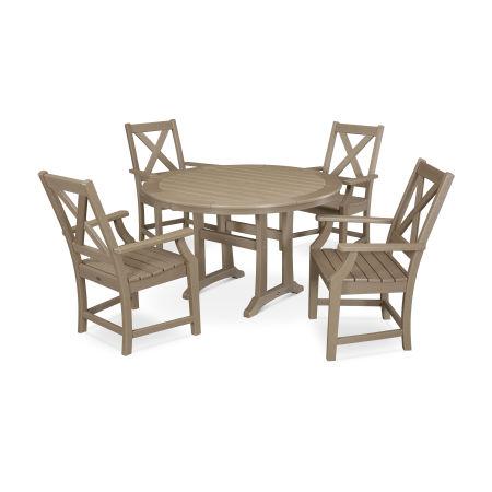 Braxton 5-Piece Nautical Trestle Arm Chair Dining Set in Vintage Sahara