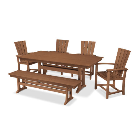 Quattro 6-Piece Farmhouse Dining Set with Bench in Teak