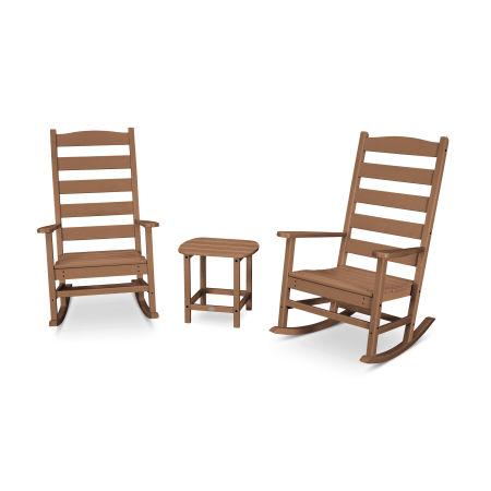 Shaker 3-Piece Porch Rocking Chair Set in Teak