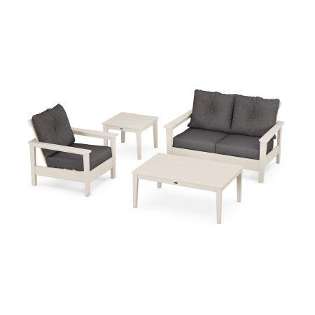 Prescott 4-Piece Deep Seating Set in Sand / Antler Charcoal