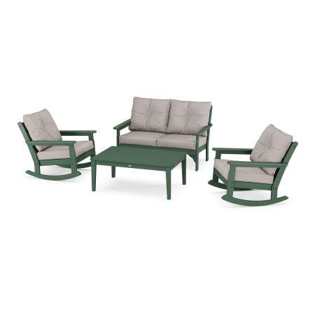 Vineyard 4-Piece Deep Seating Rocking Chair Set in Green / Weathered Tweed