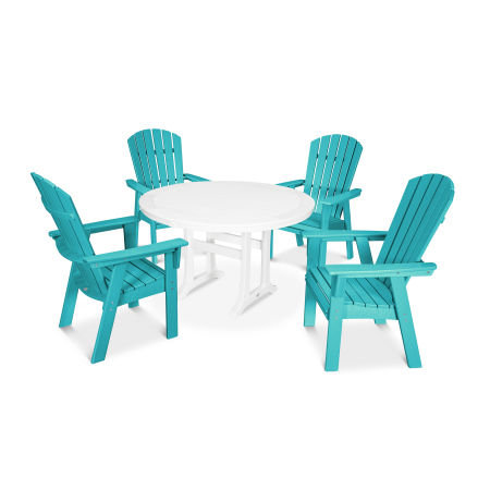 Nautical Adirondack 5-Piece Round Trestle Dining Set in Aruba / White