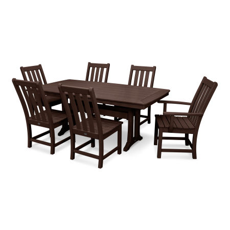 Vineyard 7-Piece Nautical Trestle Dining Set in Mahogany