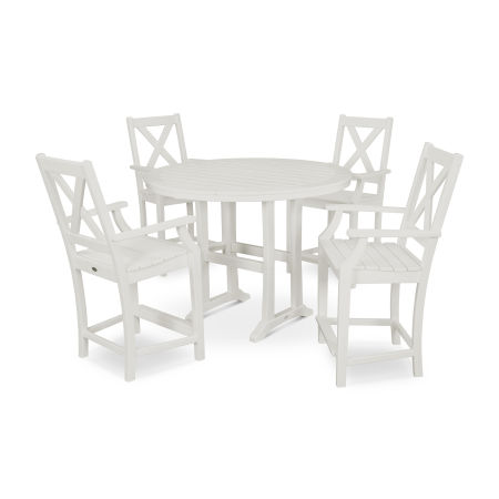 Braxton 5-Piece Nautical Trestle Arm Chair Counter Set in White