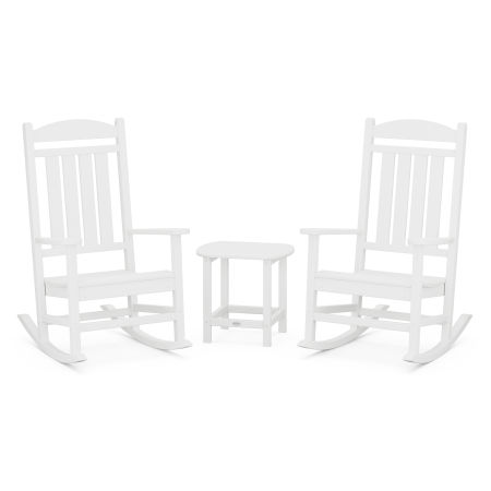 Presidential Rocking Chair 3-Piece Set in White
