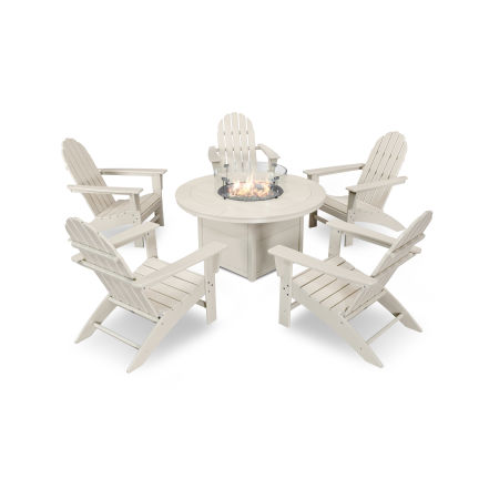 Vineyard Adirondack 6-Piece Chat Set with Fire Pit Table in Sand