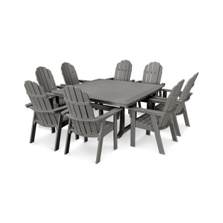 Vineyard Curveback Adirondack 9-Piece Nautical Trestle Dining Set