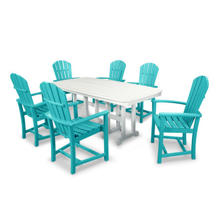 Palm Coast 7-Piece Dining Set in Aruba / White