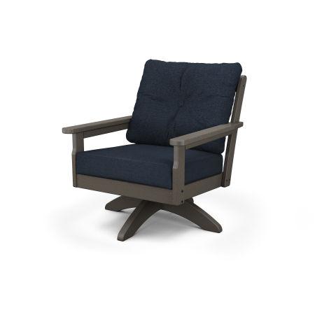 Vineyard Deep Seating Swivel Chair in Vintage Coffee / Marine Indigo