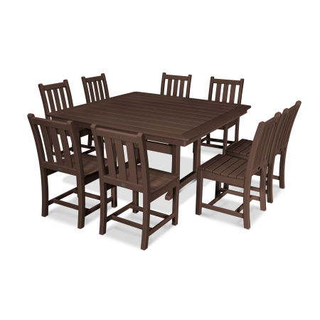 Traditional Garden 9-Piece Nautical Trestle Dining Set in Mahogany