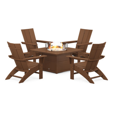 Modern Curveback Adirondack 5-Piece Conversation Set with Fire Pit Table in Teak