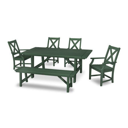 Braxton 6-Piece Rustic Farmhouse Arm Chair Dining Set with Bench in Green