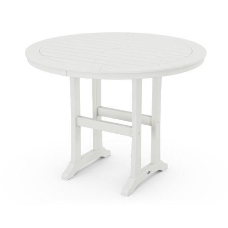 "Nautical Trestle 48"" Round Counter Table in Vintage White"