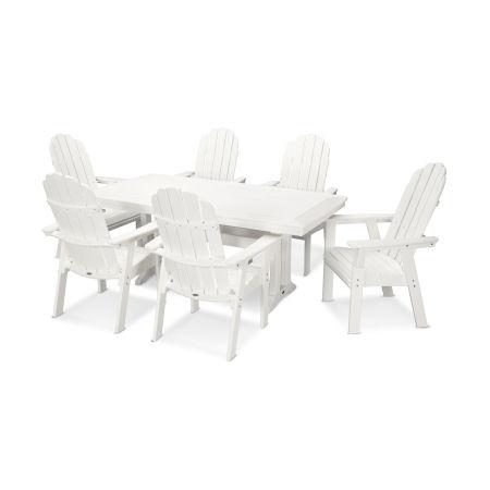 Vineyard Adirondack 7-Piece Nautical Trestle Dining Set in Vintage White