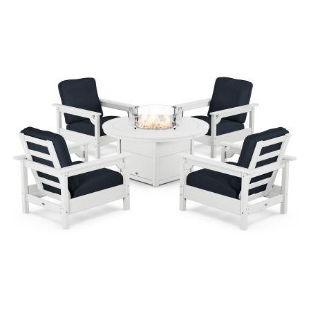Club 5-Piece Conversation Set with Fire Pit Table in White / Marine Indigo