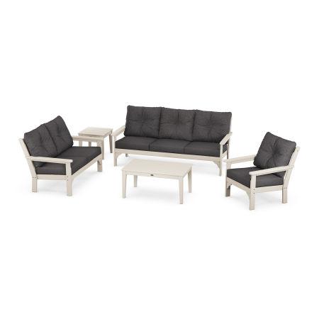 Vineyard 5 Piece Deep Seating Set in Sand / Antler Charcoal