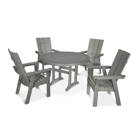 Modern Curveback Adirondack 5-Piece Nautical Trestle Dining Set