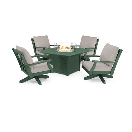 Braxton 5-Piece Deep Seating Swivel Conversation Set with Fire Pit Table in Green / Weathered Tweed