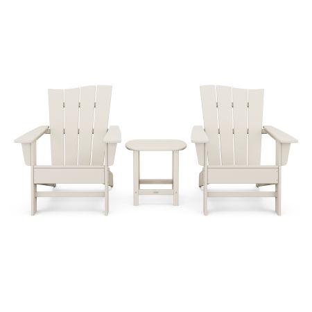 Wave 3-Piece Adirondack Chair Set in Sand