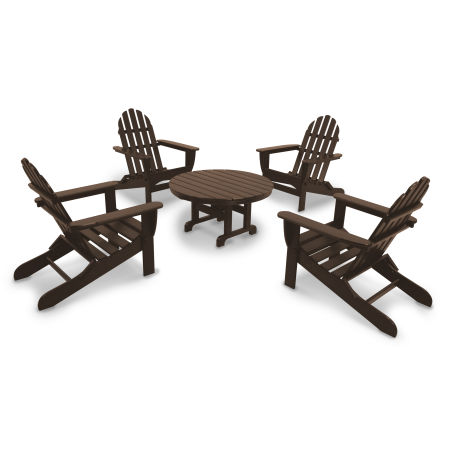 Classics 5-Piece Folding Adirondack Conversation Set in Mahogany
