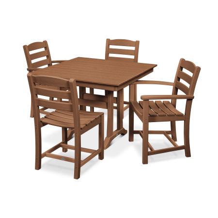 La Casa Café 5-Piece Farmhouse Trestle Dining Set in Teak