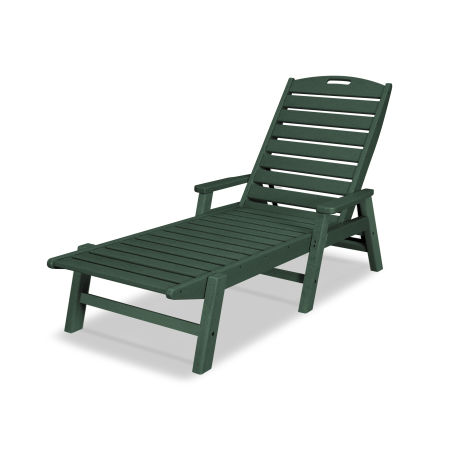 Nautical Chaise with Arms in Green
