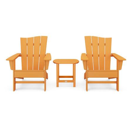 Wave 3-Piece Adirondack Chair Set in Tangerine