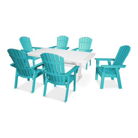 Nautical Adirondack 7-Piece Trestle Dining Set in Aruba / White