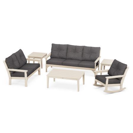 Vineyard 6-Piece Deep Seating Set in Sand / Antler Charcoal