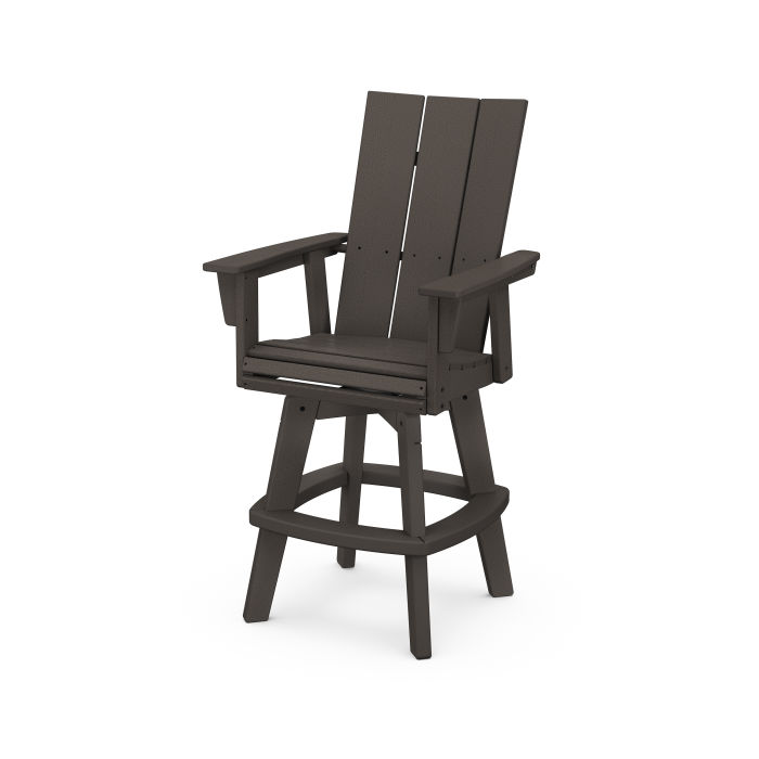 Modern Curveback Adirondack Swivel Bar Chair in Vintage Finish