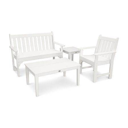 Vineyard 4-Piece Bench Seating Set in White