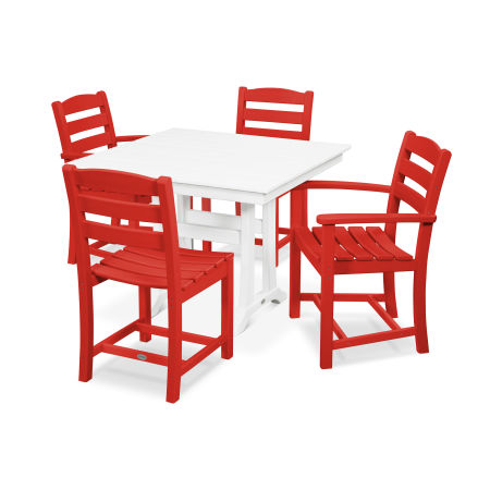 La Casa Café 5-Piece Farmhouse Trestle Dining Set in Sunset Red / White