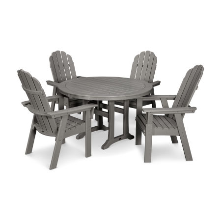 Vineyard Curveback Adirondack 5-Piece Nautical Trestle Dining Set